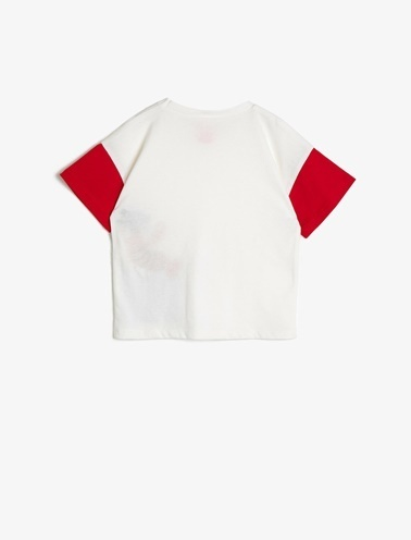 Koton Kids Baskili T-Shirt Ekru